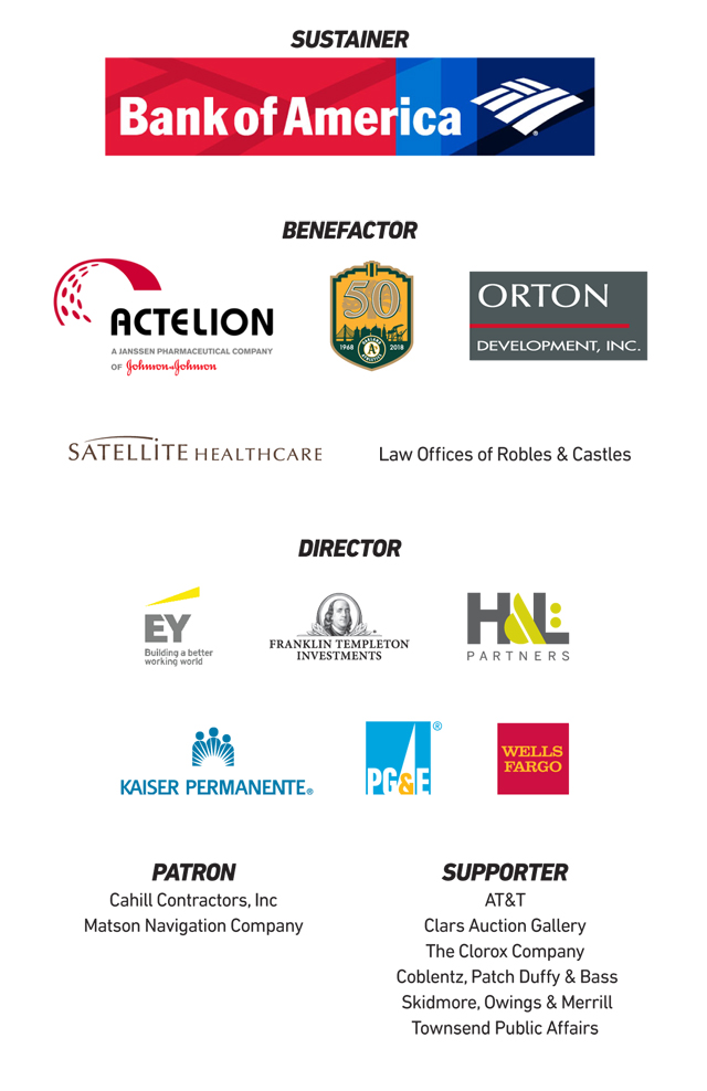 Ziggurat sponsor logos including: Bank of America, Actelion, Oakland Athletics, Orton Development Inc., Satellite Healthcare, Law Offices of Robles & Castles, EY, Franklin Templeton Investments, H&L Partners, Kaiser Permanente, PG&E, Wells Fargo, Cahill Contractors, Matson Navigation Company, AT&T, Clars Auction Gallery, The Clorox Company, Coblentz Patch Duffy & Bass, Skidmore Owings & Merill, and Townsend Public Affairs