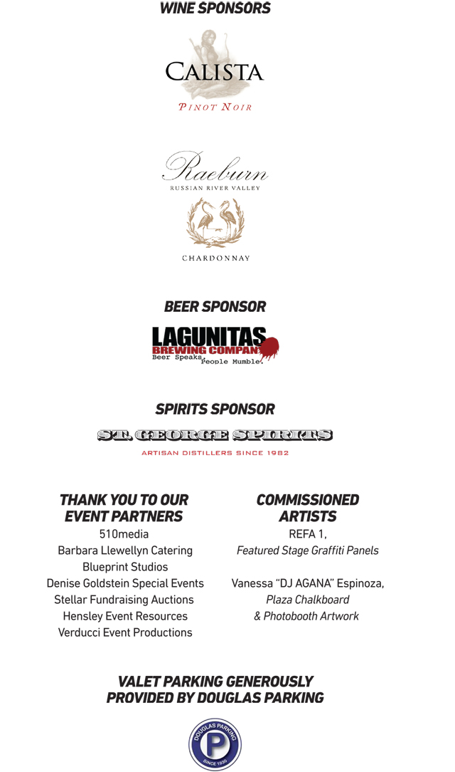Ziggurat sponsors logos including: Calista Pinot Noir, Raeburn Russian River Valley Chardonnay, Lagunitas Brewing Company, St. George Spirits, 510media, Barbara Llewellyn Catering, Blueprint Studios, Denise Goldstein Special Events, Stellar Fundraising Auctions, Hensely Event Resources, Verducci Event Productions, REFA-1, Vanessa DJ AGANA Espinoza, and Douglas Parking