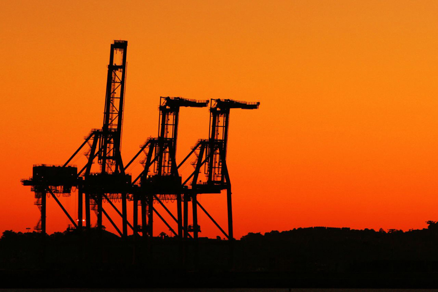 Oakland cranes at sunset. Photo by Wah Lam. Courtesy of Visit Oakland