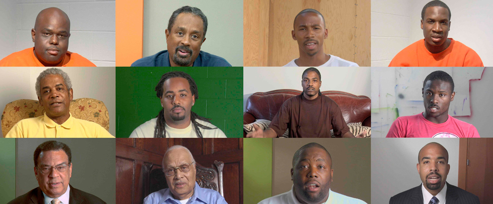 Portraits of African American men interviewed in video art installation Question Bridge