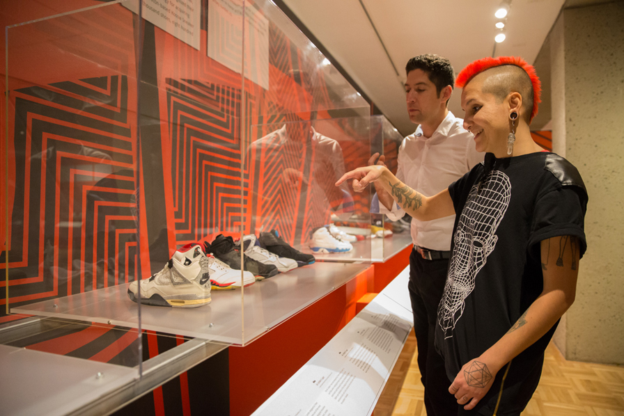 Rachael Aguirre in the exhibition Out of the Box: The Rise of Sneaker Culture. Photo: Odell Hussey Photography