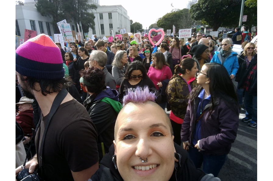 OMCA staff member Rachael Aguirre at the Oakland Women's March. Photo: Rachael Aguirre