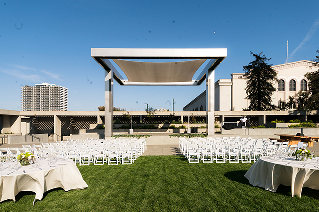 The OMCA garden stage all set up for an upcoming wedding.