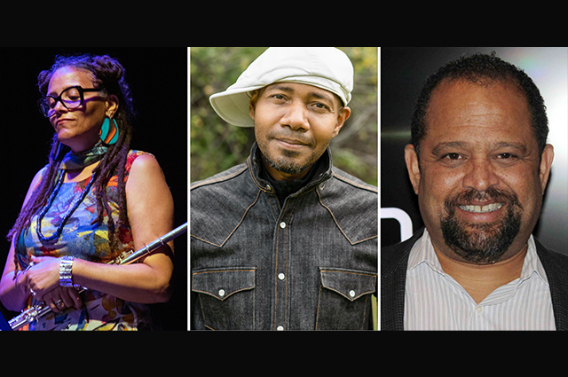Headshots of the three featured artists in the Sonic Freedom: Afrofuturism in Sound program.