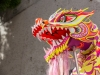 An image of a pink and yellow Chinese dragon