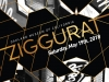 """Illustration of graphic design with text """"Ziggurat, Saturday, May 19, 2018"""" Oakland Museum of California"""