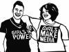 Black and white paper cutout of two women wearing shirts that say: Girls in Power and Girls Make Media