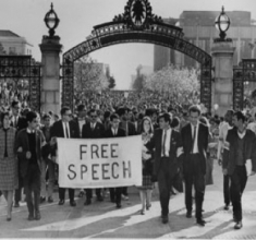 Led by Mario Savio (front row, second on the right in tie and jacket), thousands of students marched in protest while the University of California Regents considered a ban on campus political activities. November 20, 1964. Photograph: Chris Kjobech. The Oakland Tribune Collection, the Oakland Museum of California. Gift of ANG Newspapers.