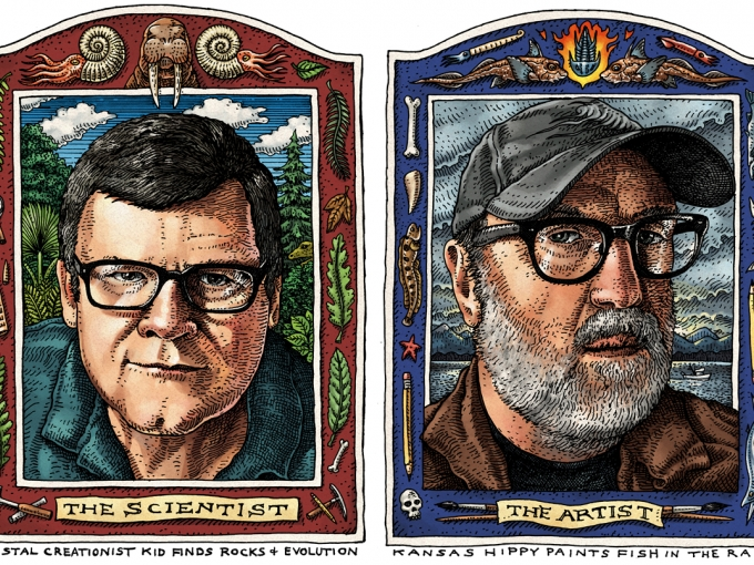 Drawn portraits of Ray Troll and Kirk Johnson with the words 'the artist' and 'the scientist' below them, respectively