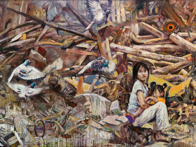 Hung Liu, Richter Scale, 2009 Oil on canvas. 80 x 160 inches. Collection of Marsha Elser-Smith and Larry Smith.