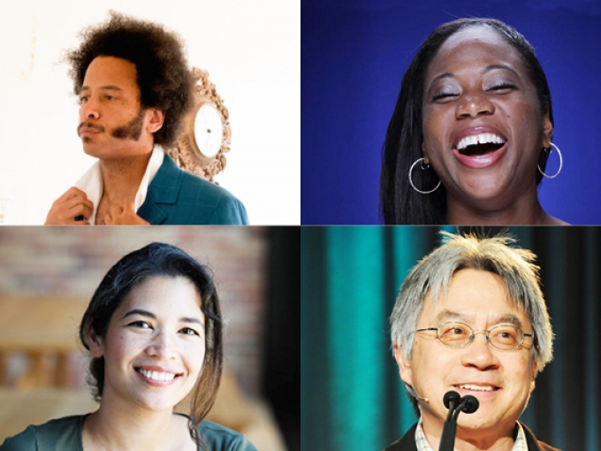 Compilation image of Boots Riley, Jamari Perry, Stephen Gong, and Rosana Sullivan