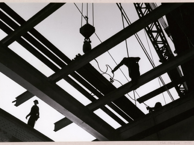 Peter Stackpole, I Beam Silhouette, 1935. Gelatin silver print, 8 x 11.75 in. Collection of the Oakland Museum of California, Oakland Museum of California Founders Fund.