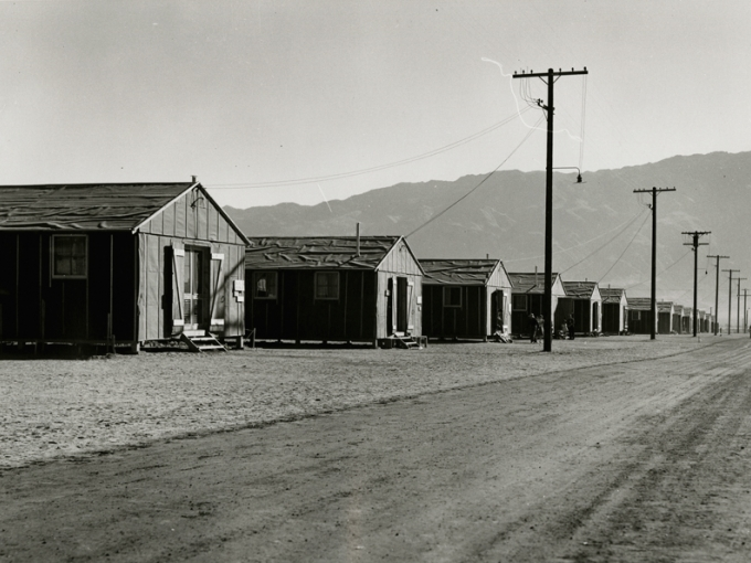 Dorothea Lange, Manzanar Relocation Center, June 29, 1942. Gelatin silver print, 11 x 14 in. Collection of the Oakland Museum of California, gift of Paul S. Taylor