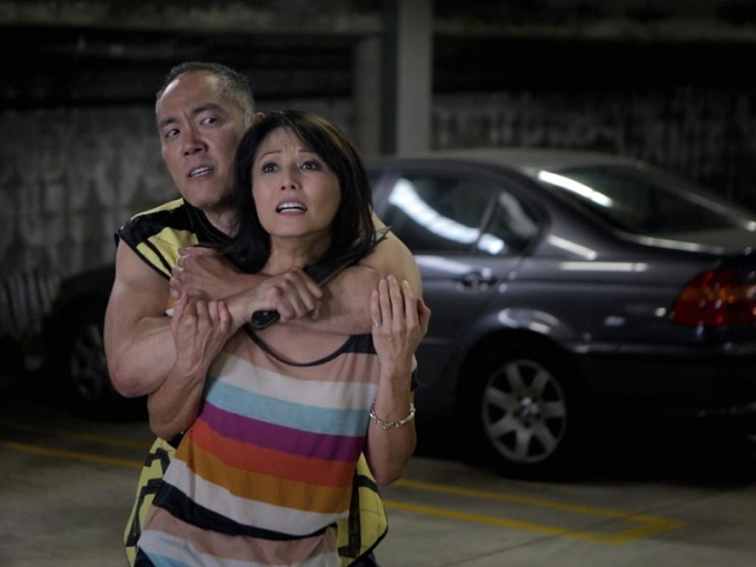 Yuji Okumoto and Tamlyn Tomita in Patrick Epino and Stephen Dypiangco's AWESOME ASIAN BAD GUYS.