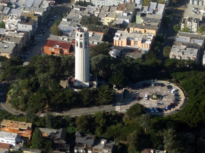 Oblique aerial of Coit Tower. Photo by Kyle Harmon on Flickr.