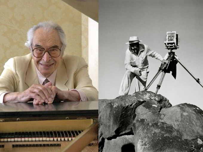 [Left] Dave Brubeck at the piano. Courtesy of the Oakland East Bay Symphony. [Right] Detail, Dorothea Lange, untitled (Ansel Adams with his View Camera in the Field, Utah), circa 1952. Gelatin silver print, 11 x 14 in. Collection of the Oakland Museum of California, Gift of the Ansel Adams Publishing Rights Trust. © Oakland Museum of California.