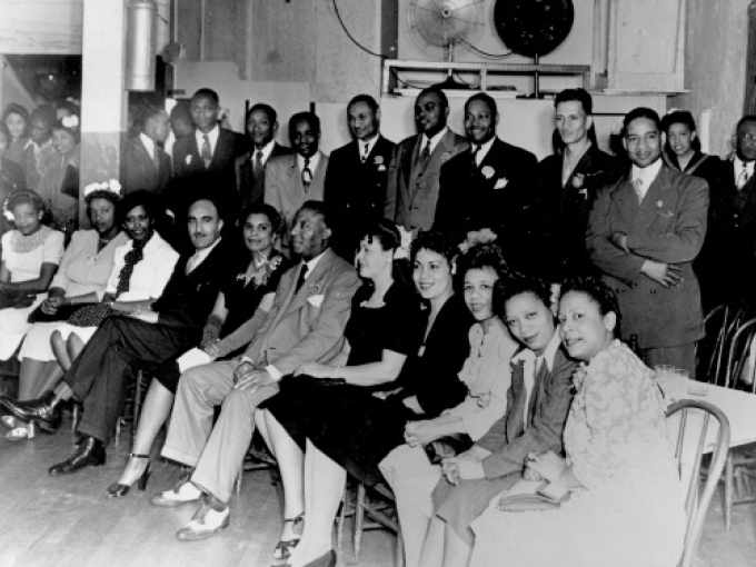 Members of the Ladies Auxiliary and the Brotherhood of Sleeping Car Porters, including C. L. Dellums, A. Phillip Randolph, and M.P. Webster, circa 1945. Gelatin silver print; 8 x 10 in. Gift of Mr. Jewel Brown, collection OMCA