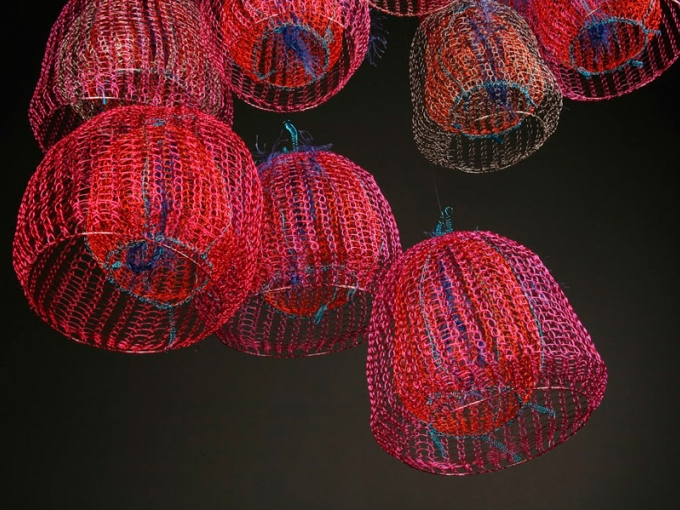Arline Fisch. Paper Lanterns (detail), 2008. Coated copper wire, dimensions vary from 7 x 4 x 4 inches to 11 x 9 x 9 inches. Collection of the Artist. Photography: William Gullette. Courtesy of the Museum of Craft and Design.