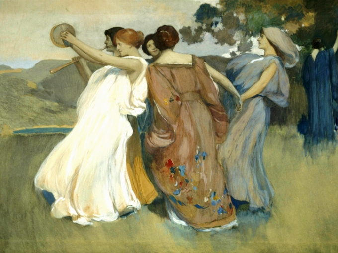 Arthur Mathews, Youth (Dancing Girls #4), c. 1916. Watercolor, gouache on paper, 41 x 56.13 inches. Collection of Oakland Museum of California, gift of Concours d'Antiques, the Art Guild.