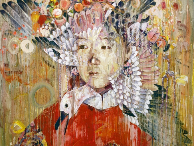 Hung Liu, September 2001, 2001. Oil on canvas. 66 x 66 inches. Collection of Driek and Michael Zirinsky.