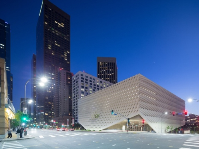 View of The Broad museum from the corner of 2nd Street and Grand Avenue in downtown Los Angeles; Photo: Iwan Baan, courtesy of The Broad and Diller Scofidio + Renfro