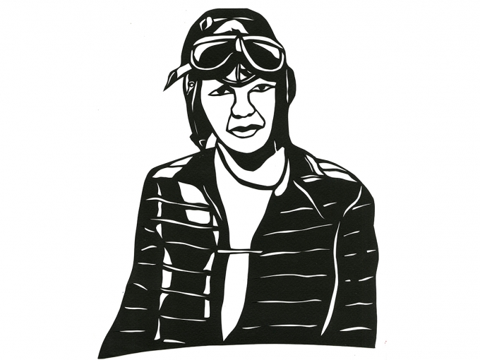 Black and white paper cutout of Amelia Earhart