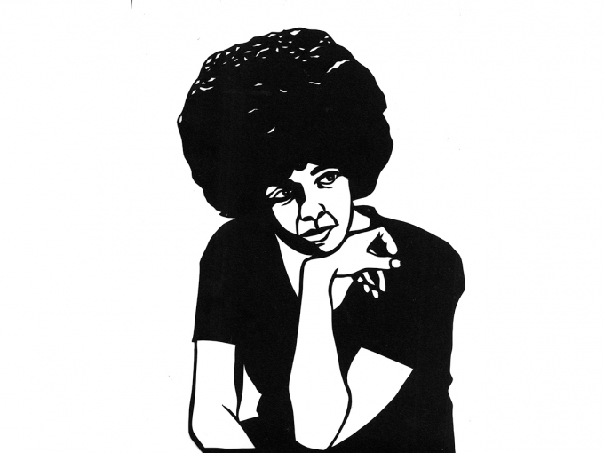 Black and white paper cutout of Angela Davis