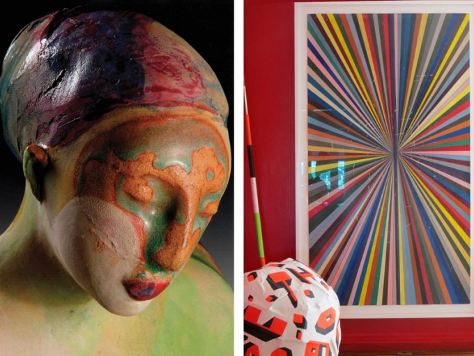 Left: Michelle Gregor, Scout. Photo by J. Jones. Right, on wall: Mark Grotjahn, Stripes. Right front: Andy Coolquit, Graffiti Ball.