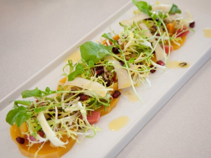 Beet salad with organic greens. Photo: Terry Lorant.