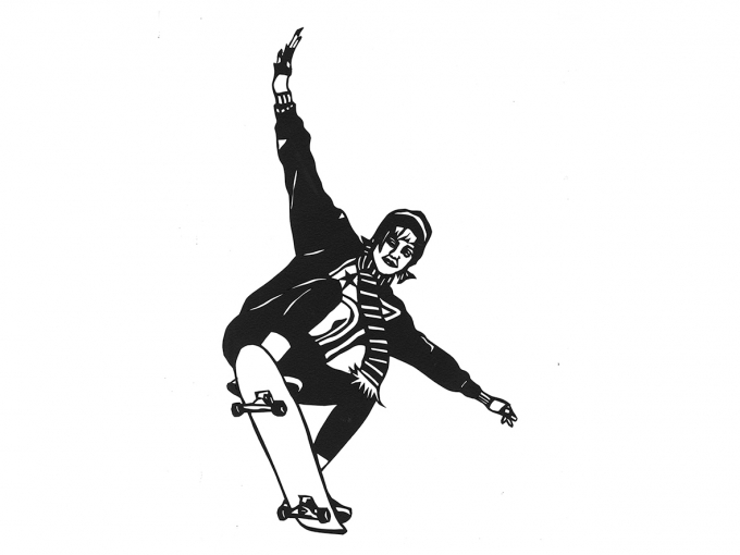 Black and white paper cutout of a skateboarder named Cher