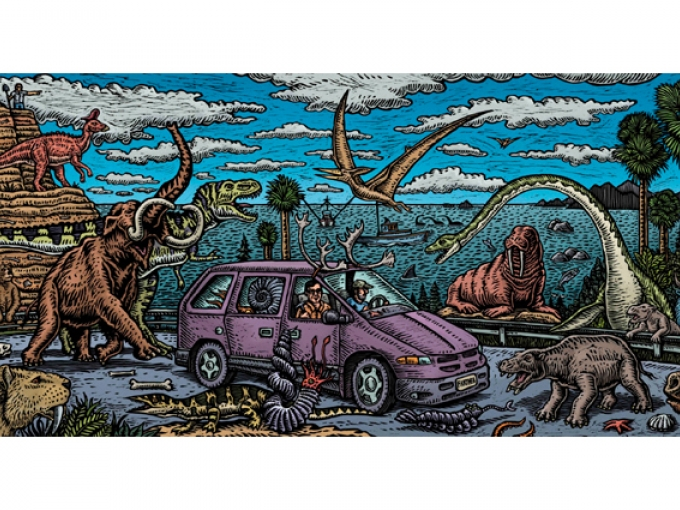 A colorful drawn image of two men driving a purple van on the highway as dinosaurs fly and walk around them