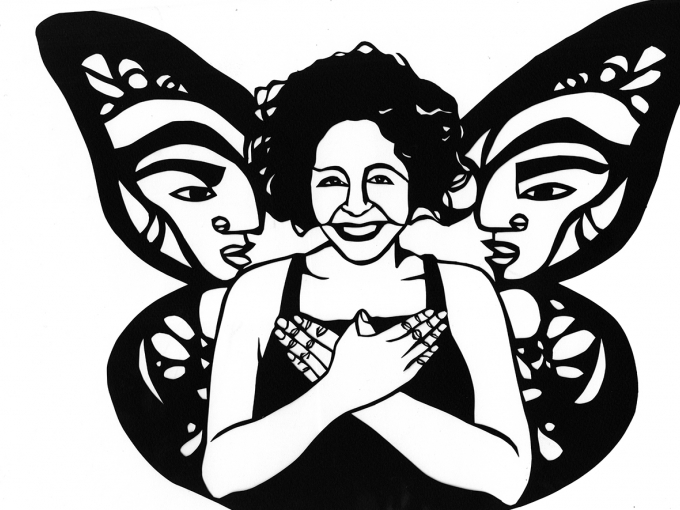 Black and white paper cutout of Favianna Rodriguez in front of a butterfly