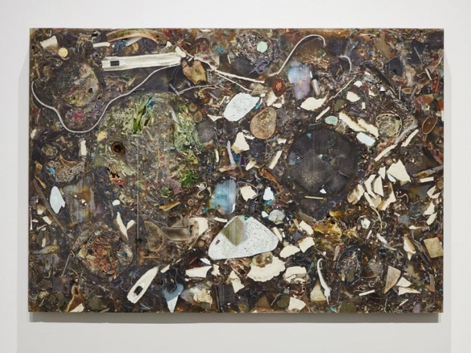 Jedediah Caesar, Green(gre-y?) prologue: 4, 2015. Epoxy, collected materials, hardware, 1 rectangular panel, 23 x 33 x 1.5 inches. Courtesy of Jedediah Caesar, Photo by Johnna Arnold