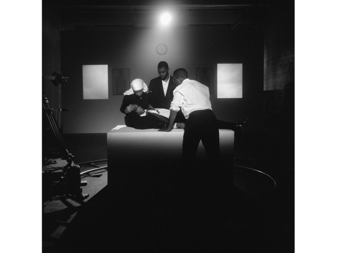Carrie Mae Weems, The Assassination of Medgar, Malcolm, and Martin, 2008. Archival pigment print, 61 x 51 in. (framed). ©Carrie Mae Weems. Courtesy of the artist and Jack Shainman Gallery, New York