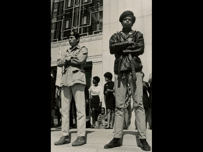 Lonnie Wilson, untitled (Black Panthers at Alameda County Courthouse), July 14, 1968.  Gelatin silver photograph, 14 x 9.5 in. The Oakland Tribune Collection, the Oakland Museum of California, Gift of ANG Newspapers