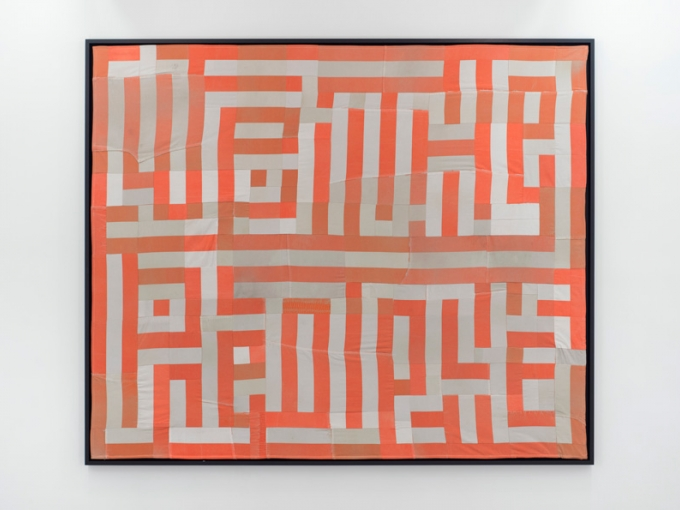 Hank Willis Thomas, We The People, 2015. Guilt made out of decommissioned prison uniforms, 73 1/4 x 88 1/4 in. Courtesy of the artist and Jack Shainman Gallery, New York