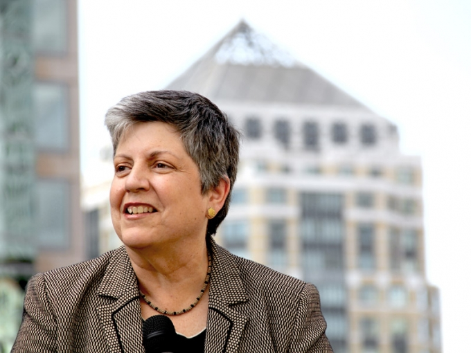 Janet Napolitano speaking. Courtesy of University of California Office of the President.