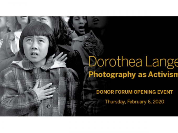 A black and white image of a child placing their hand over their heart with the words: Dorothea Lange Photography as Activism Donor Forum Opening Event Thursday February 6, 2020