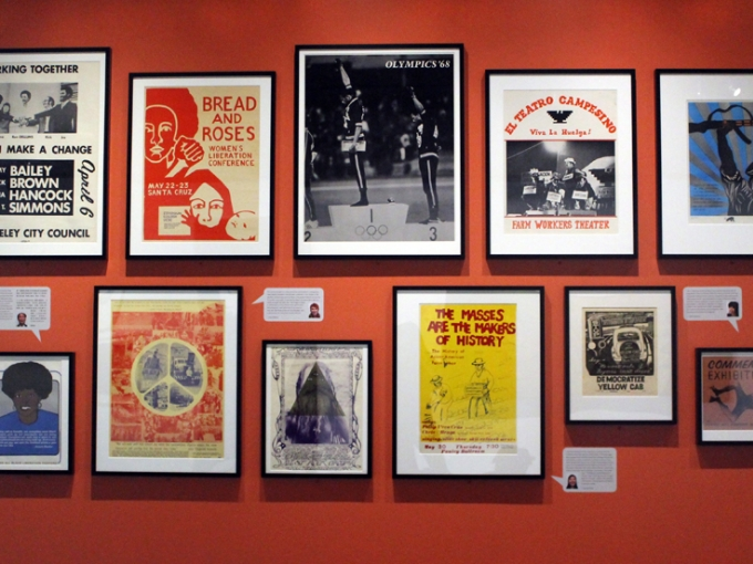Posters installed in the Radical Acts exhibit, selected by community members from the All of Us or None Archive. Fractional and promised gift of The Rossman Family.