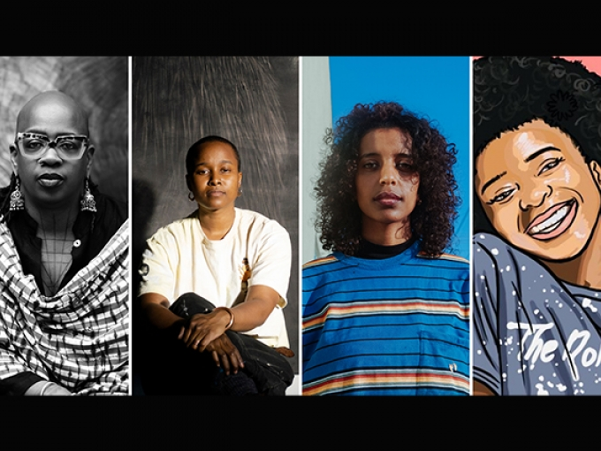 Headshots of the four featured artists in OMCA's Sonic Freedom program.