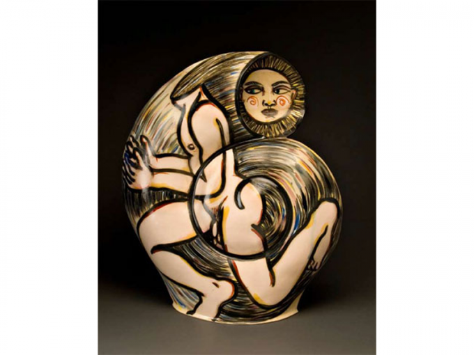"Akio Takamori, b. 1950 Japanese, active U.S. Running Away, 1987 25 x 21"" dia. Courtesy of ASU Ceramic Research Center"