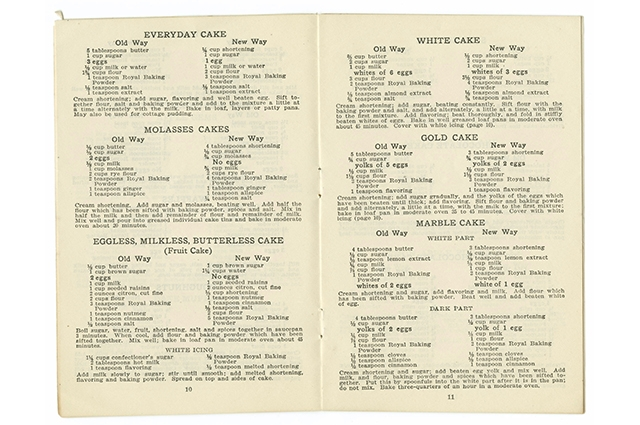Interior of recipe booklet from 1917