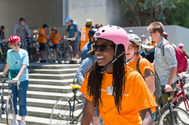Group gathered for docent-led bike tour at the Oakland Museum of California