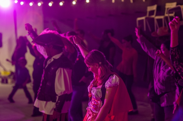 People in costumes dancing to Michael Jackson's Thriller at the Oakland Museum of California
