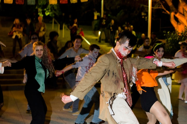 Visitors dancing to Michael Jackson's Thriller at the Oakland Museum of California