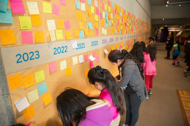 Students write their thoughts in front of a large timeline spanning to the year 2023 with post-it notes written by other guests