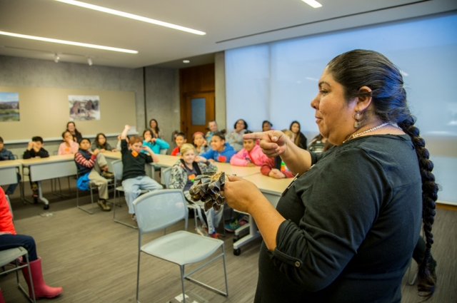 Corrina Gould, Native American Educator at OMCA speaks to a group of students in the California Indian Living school program. Photo: Odell Hussey Photography
