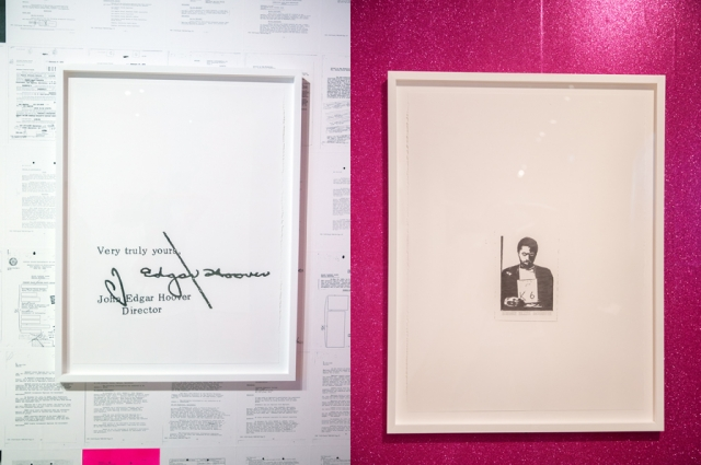 Left: Sadie Barnette's drawing of J. Edgar Hoover's signature; Right: Barnette's drawing of her father's mugshot, in her installation for All Power to the People: Black Panthers at 50. Photo: Odell Hussey Photography