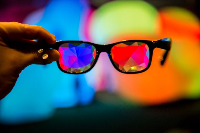 Glasses with visual effects to enhance the experience of Nature's Gift at Oakland Museum of California