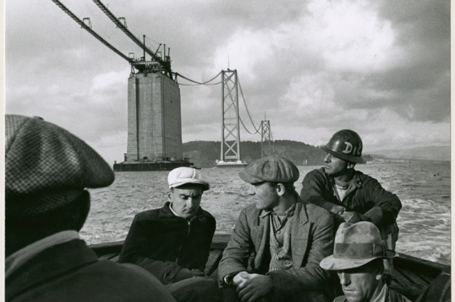 Peter Stackpole, Quitting Time, 1935. Gelatin silver print, 7 x 9.13 in. Collection of the Oakland Museum of California, Oakland Museum of California Founders Fund.